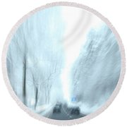Cruising In A Snowstorm Round Beach Towel