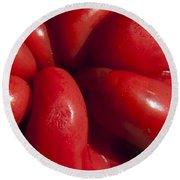 Crunchy Red Pepper Round Beach Towel