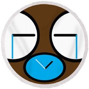 Crying Monkey In Clock Faces Round Beach Towel
