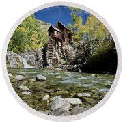 Crystal Mill In Autumn Round Beach Towel