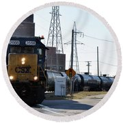 Csx Train Round Beach Towel