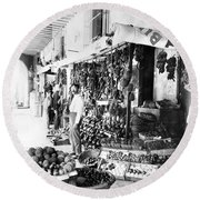 Cuba Fruit Vendor C1910 Round Beach Towel