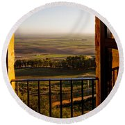Cultivated Land In Spain Round Beach Towel