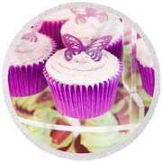 Cup Cakes Round Beach Towel