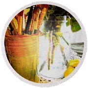 Cup O Brushes Round Beach Towel