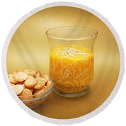 Cup O Soup And Oyster Crackers Round Beach Towel