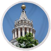 Cupola Atop St Peters Basilica Vatican City Italy Round Beach Towel