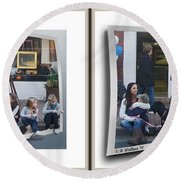 Curb Resting - Gently Cross Your Eyes And Focus On The Middle Image Round Beach Towel