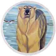 Curiosity - Polar Bear Painting Round Beach Towel