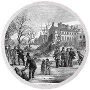 Curling, 1853 Round Beach Towel
