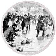 Curling, 1884 Round Beach Towel