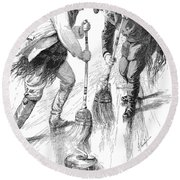 Curling Players, 1885 Round Beach Towel