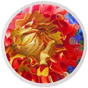 Red And Yellow Dahlia Round Beach Towel