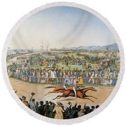 Currier & Ives: Racing, 1845 Round Beach Towel