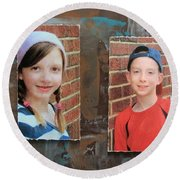 Custom Photo Portrait Group Round Beach Towel