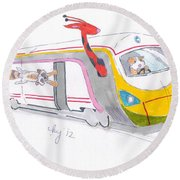 Cute Cartoon High Speed Train And Animals Round Beach Towel