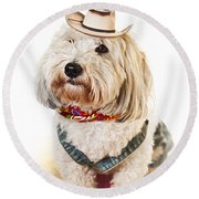 Cute Dog In Halloween Cowboy Costume Round Beach Towel