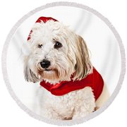 Cute Dog In Santa Outfit Round Beach Towel