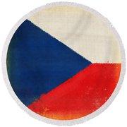 Czech Republic Flag Round Beach Towel