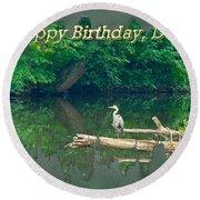 Dad Birthday Greeting Card - Heron On Fallen Tree Round Beach Towel