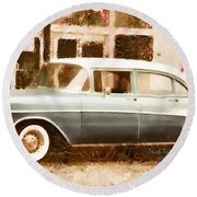Dad's Old Car Round Beach Towel
