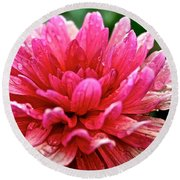 Dahlia Dew Drops Round Beach Towel