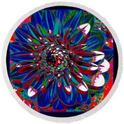 Dahlia With Intense Primaries Effect Round Beach Towel