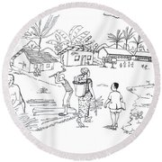 Daily Life In South And Center Cameroon 02 Round Beach Towel
