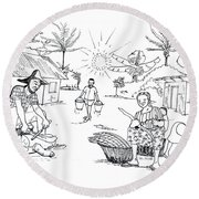 Daily Life In South And Center Cameroon 03 Round Beach Towel