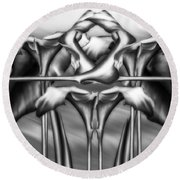 Dance Of The Black And White Calla Lilies Vi Round Beach Towel