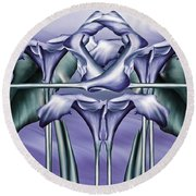 Dance Of The Blue Calla Lilies Iv Round Beach Towel