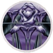 Dance Of The Purple Calla Lilies V Round Beach Towel