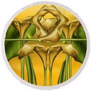 Dance Of The Yellow Calla Lilies II Round Beach Towel