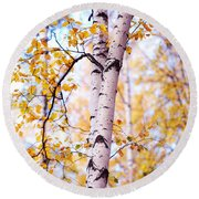 Dancing Birches Round Beach Towel