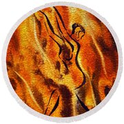 Dancing Fire Viii Round Beach Towel