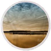 Danube River-sunset Round Beach Towel
