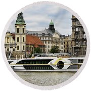 Danube Riverboat In Budapest Round Beach Towel