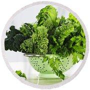 Dark Green Leafy Vegetables In Colander Round Beach Towel