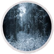 Dark Place Round Beach Towel by Svetlana Sewell