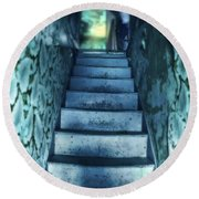 Dark Staircase With Man At Top Round Beach Towel