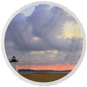 Dawn At Long Point Lighthouse Round Beach Towel