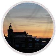 Dawn At Saybrook Dock Round Beach Towel