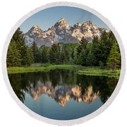 Dawn At Schwabacher Landing Round Beach Towel