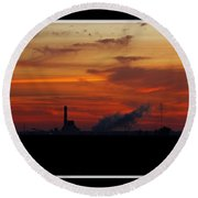 Dawn At The Power Plant Round Beach Towel