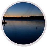 dawn at Yellowstone Lake Round Beach Towel