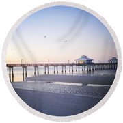 Dawn Breaking Vanilla Pop Round Beach Towel