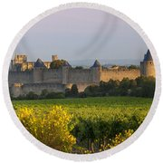 Dawn In Carcassonne Round Beach Towel