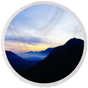 Dawn In The Foothills Of The Cascades  Round Beach Towel
