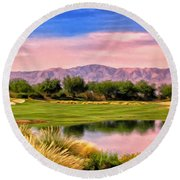 Dawn On The Golf Course Round Beach Towel