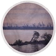 Dawn On The River Neva In Russia Round Beach Towel